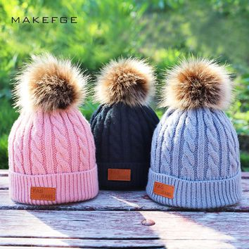 Children's and winter knitted cotton hats warm and comfortable ski hat solid color fashion boy girl universal pompom caps