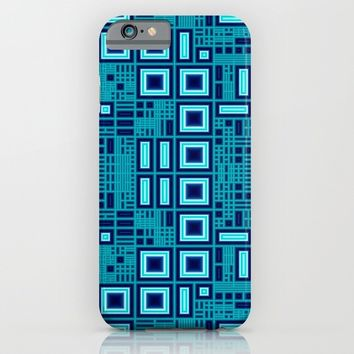 Blue digital geometric abstraction iPhone & iPod Case by Natalia Bykova