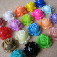 40PCS - Cabbage Rose Flower Cabochons - 15mm - Resin - Sampler Pack - Findings by ZARDENIA