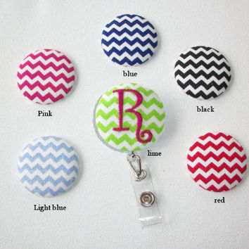 Retractable ID Badge Holder Reel  - Fabric Button -Your choice of chevron with monogram custom