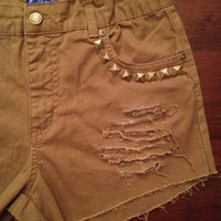 Light Brown Studded & Distressed High Waisted Denim Shorts from Charleston Denim Co.