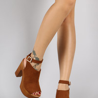 Suede Ankle Buckle Faux Wood Open Toe Heel