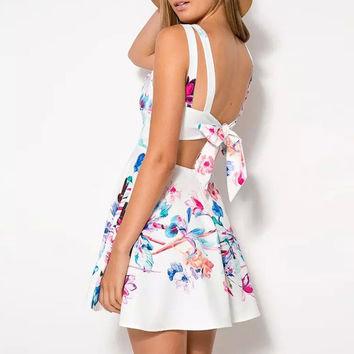 Floral V Neck Backless Pleated Mini A-Line Dress
