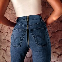 Winter Sexy Zippers Jeans [39012270095]