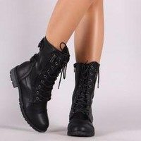 Vegan Leather Buckled Accent Combat Lace Up Boots