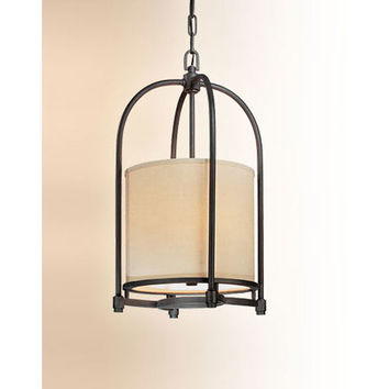 Troy F1803FBZ Redmond Federal Bronze Three-Light Pendant with Beige Linen Shade