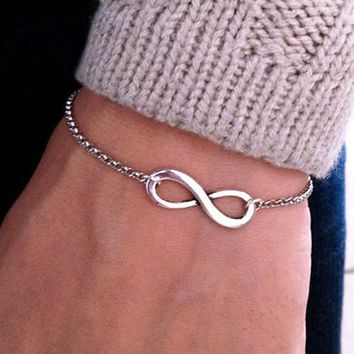 Bluelans Stylish Punk 5 Colors-tone Metal Infinite Infinity Sign Bracelet Bracelets