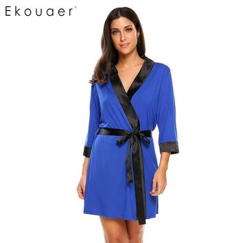 Ekouaer Women Soft Robe Sleepwear Kimono Bathrobe Lightweight 3/4 Sleeve