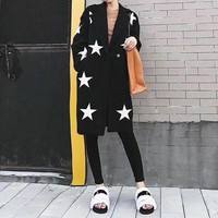 """Givenchy"" Women Casual Fashion Five-pointed Star Cardigan Tailored Collar Long Sleeve Middle Long Section Woolen Coat"