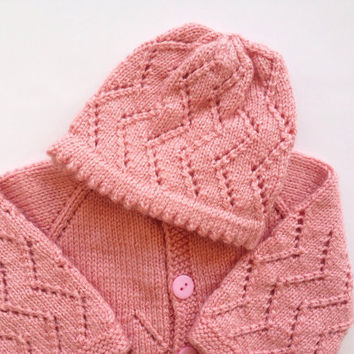 Hand Knitted Lace Pattern Coral, Pink Baby Sweater and Hat newborn