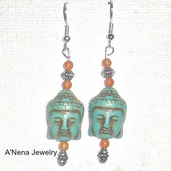 "Buddha Earrings Howlite, Quartzite"" Enlightenment"""