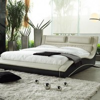 Napoli Modern Platform Bed Cream/black (Queen)