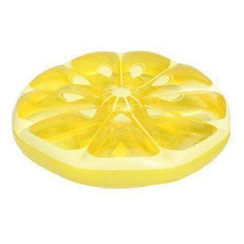 "49"" Inflatable Yellow Lemon Fruit Slice Swimming Pool Island Lounger Raft Float"
