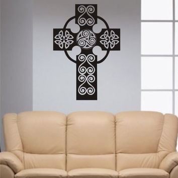 Beautiful Cross Decal Sticker Wall Religion God Catholic Christian