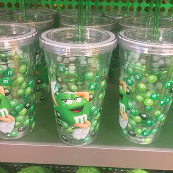 M&M's World Green Character Water Plastic Tumbler New