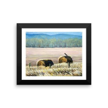 Hawk on the hay bale Fine Art Framed print by American Artist Hilary J England