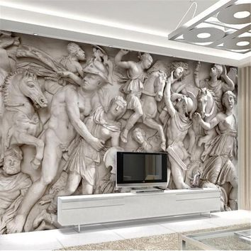 Custom 3D Wallpaper European Roman Statues Art Painting Restaurant Retro Sofa Backdrop Wallpaper for Living Room Wall Mural