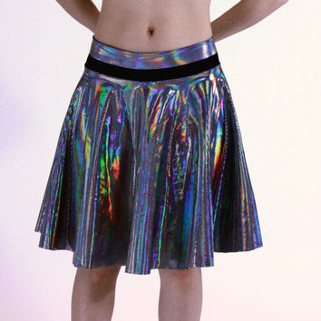 Holographic Rainbow Skater Circle Skirt