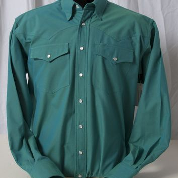 Men's Classic Pearl Snap Blue & Green Iridescent Western Shirt