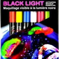 Mehron Blame Black Light Activated Cream Makeup Neon Face Paint 6 Color Pen Set