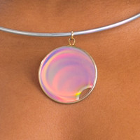 Vintage 70's Groovy Hologram Necklace