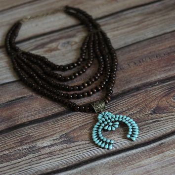 'Wooded Tribe' Multi-Strand Squash Blossom Necklace - Turquoise