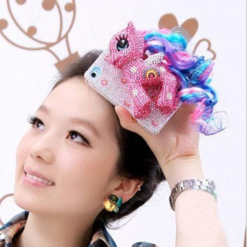3D Rainbow Horse iPhone 4/4S case iPhone 5 cases by Clairehandmade