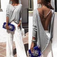 Fashion Women Open Back Tops Long Sleeve Casual Blouse Loose T-shirt