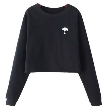 Alien Print Cropped Sweatshirt