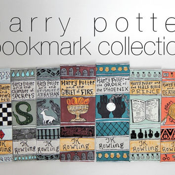 Harry Potter Book Spine Bookmark // Hand Painted Bookmark // Harry Potter and the Sorcerer's Stone // Gift for Reader // Stocking Stuffer