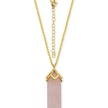 Rose Quartz Long Pendant Necklace (29-1/2 ct. t.w.) in Silver-Plate Gold Flash | macys.com