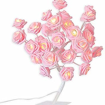 Micozy Rose Pink Lamp Girls Bedroom Lamp Flower Desk Lamp Tree Light with AC Adapter for Party Wedding Living Room Home Indoor Decoration 24 Warm White LED Lights Mother's Day