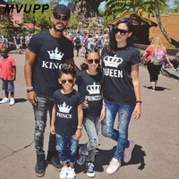 Cool Summer mother and daughter clothes family matching outfits mommy and me look tshirt father mom son baby clothing King QueenAT_93_12