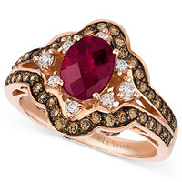 Le Vian 14k Rose Gold Ring, Raspberry Rhodolite Garnet (1-3/8 ct. t.w.), Diamond and Chocolate Diamond (3/4 ct. t.w.) Oval Ring