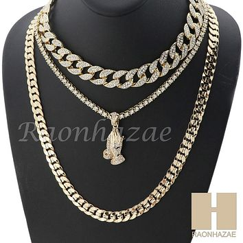 "14K GOLD PT PRAYING HANDS ICED OUT MIAMI CUBAN 16""~30"" CHOKER TENNIS CHAIN S038"