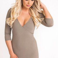Girls Night Surplice Bodycon (Mocha)