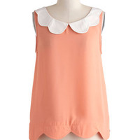 Scalloped Peaches Top | Mod Retro Vintage Short Sleeve Shirts | ModCloth.com