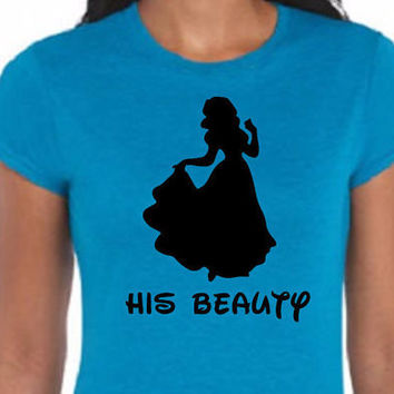Disney His Beauty Belle Beauty and the Beast Disney Vacation Disney Trip Tee Shirt (Multi-Color Choices) Womens T-Shirt