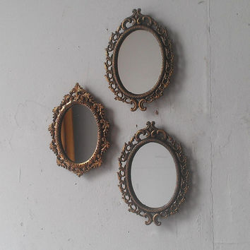 Miniature Oval Mirror Set of Three in Vintage Tarnished Brass Filigree Frames