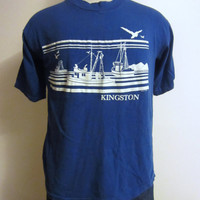 Vintage Awesome 80s KINGSTON JAMAICA GRAPHIC Sailing Poly-Tees Hawaii Beach Surf Unisex Medium Blue Cotton T-Shirt