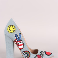Shoe Republic LA Denim Patches Chunky Heeled Pump