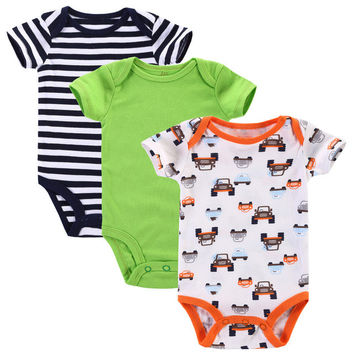 Almost Gone!! 3PCS/ 100% Cotton Material Cute Rompers for NB Girls NB Boys