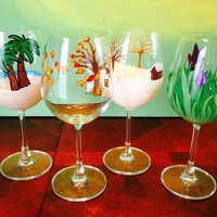 Four seasons hand painted wine glass set