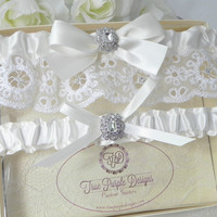 Ivory Satin & English Lace Garter Set with Swarovski Crystals