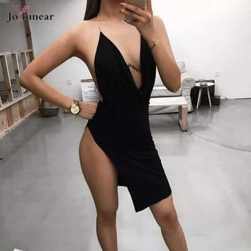 2016 new sexy Women dress Sleeveless Metal Sling Split red Bodycon dress Celebrity Evening Party dress Fold v-neck Bandage Dress