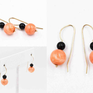 Vintage 14K Yellow Gold Pink & Black Coral Pierced Earrings, Coral Beads, Fine Gold, French Hook, Dangle, Drop, Sea Beauties!  #c506
