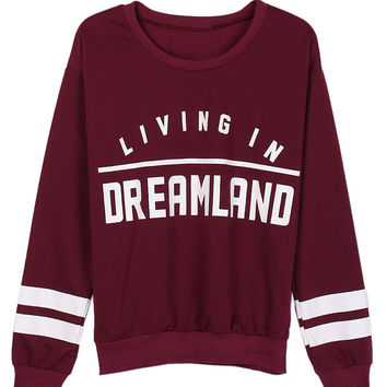 Burgundy Letter Print Stripe Long Sleeve Sweatshirt