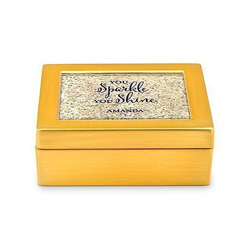 Small Modern Personalized Jewelry Box - Sparkle Shine Print Silver Gold (Pack of 1)