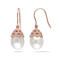 Freshwater Pearl and Diamond Rose Fashion Drop Earrings 1/10ctw