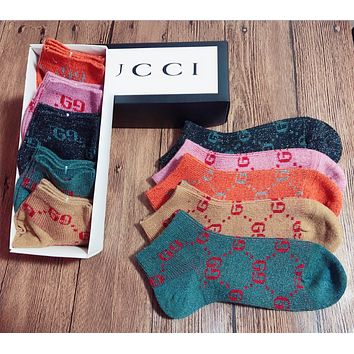 5pcs GUCCI Casual Sport 100% Cotton Socks